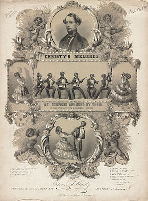Christy's Minstrels - 1844 sheet music cover for a collection of songs by Christy's Minstrels. George Christy appears in the circle at top.