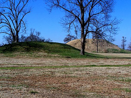 Platform mounds, such as this one at Toltec Mounds near Scott, were constructed frequently during the Woodland and Mississippian periods Chromesun toltec mounds photo01.jpg
