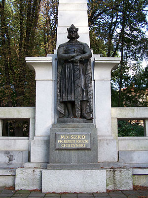 Mieszko I, Duke of Cieszyn - Mieszko I monument in Cieszyn. Sculpted by Jan Raszka.