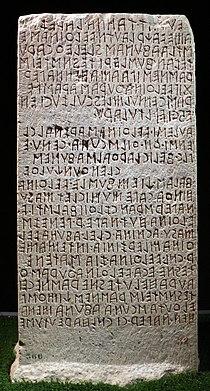 Cippo perugino, con iscrizione in lingua etrusca su un atto giuridico tra le famiglie dei velthina e degli afuna, 02.jpg