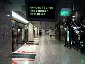 Bayfront MRT station - Circle Line platform at Bayfront MRT station. This was taken during the Circle Line Open House