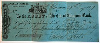 City of Glasgow Bank - A cleared cheque from 1877