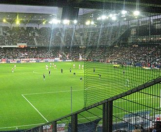 Manchester City F.C. in European football - Manchester City prepare to kick off their 2010–11 Europa League match at Red Bull Salzburg.