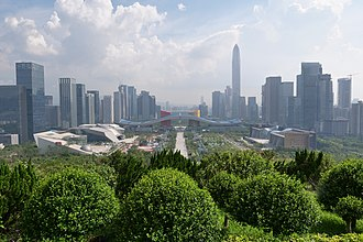 Shenzhen - Shenzhen Civic Center and the Futian District CBD from Lianhuashan Park