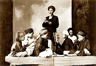 Confucian court examination system in Vietnam - A private class at home in Vietnam about 1895