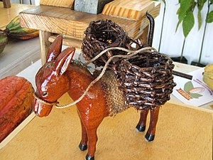 Cocoa panyols - Donkey with panniers (model),Trinidad