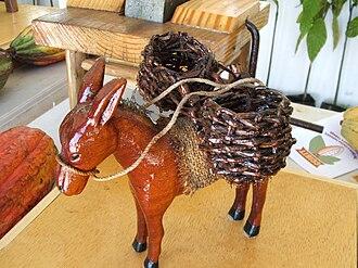 Cocoa panyols - Donkey with panniers (model),Trinidad