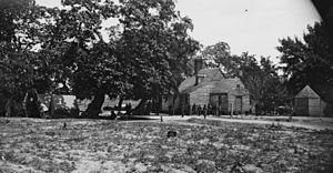 Battle of Cold Harbor - The Burnett Inn at Old Cold Harbor. Photographed by Timothy H. O'Sullivan, June 4, 1864