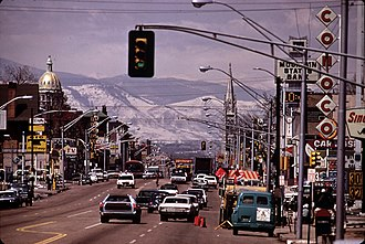 Colfax Avenue - Looking down East Colfax in 1972 with the capitol and the Basilica of the Immaculate Conception seen in the background.