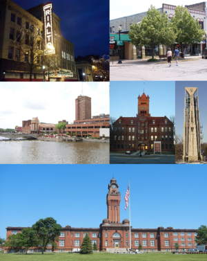 Clockwise from top left: Rialto Square Theater (Joliet), Downtown Crystal Lake, Moser Tower (Naperville), Old DuPage County Courthouse (Wheaton), Great Lakes Naval Training Station (North Chicago) and Downtown Aurora.