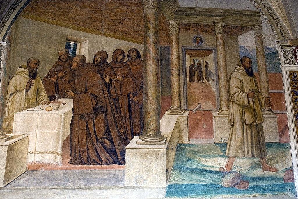 Il Sodoma, Come Benedetto spezza col segno della croce uno bicchiere di vino avvelenato