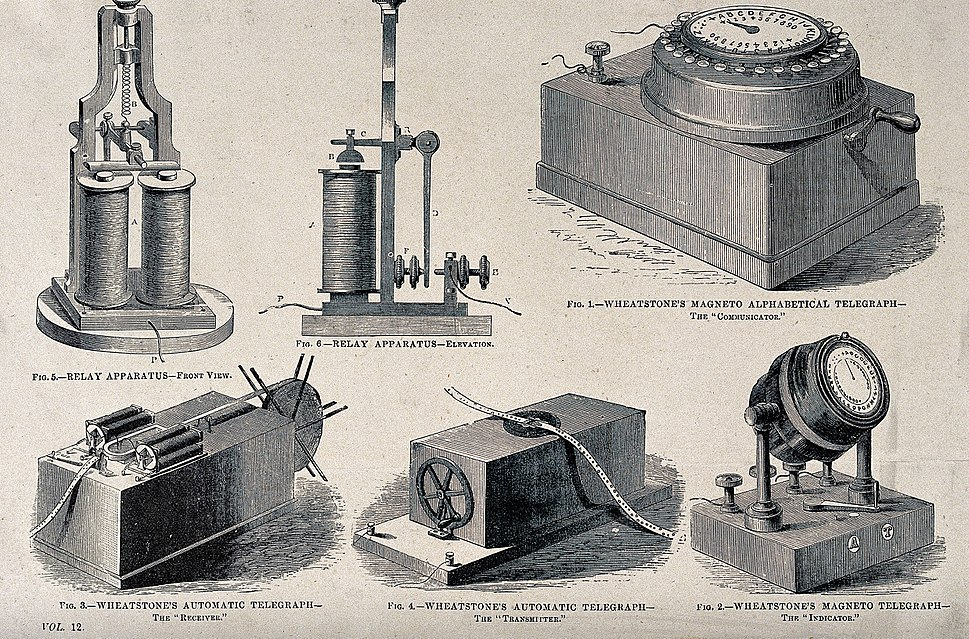 Components of the electromechanical telegraph network. Proce Wellcome V0025510