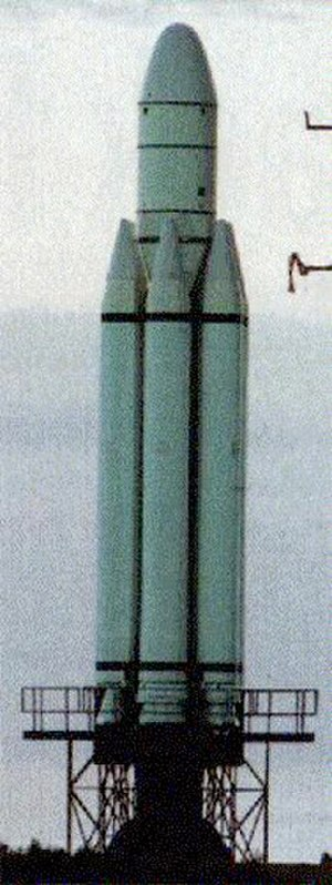 Conestoga (rocket) - The first, and only, Conestoga 1620, prior to its launch from Wallops Island. The engine bells on the clustered boosters vary depending on their firing order; the larger bells are tuned for higher altitudes.
