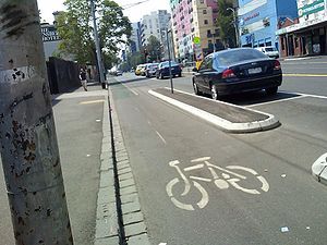 """Copenhagen style"" bike lane in Melb..."
