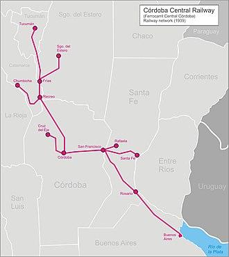 Córdoba Central Railway - Image: Cordoba central railw 1939