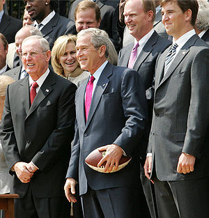 New York Giants - Tom Coughlin alongside George W. Bush at the White House to celebrate the Giants' Super Bowl XLII championship.