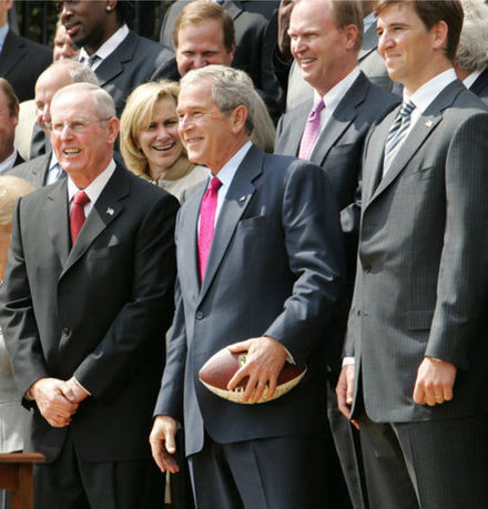 Tom Coughlin alongside George W. Bush at the White House to celebrate the Giants' Super Bowl XLII championship. Cough bush.jpg