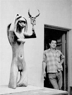 Countrywoman on Her Wedding Night, sculpture by Khaled al-Rahal, Baghdad, 1961.png
