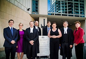 Australian Conservation Foundation - Kelly O'Shanassy, ACF's Chief Executive Officer, and the legal team from the Environmental Defenders Office QLD at the court case hearing about the federal government's approval of Adani's Carmichael coal mine. Brisbane 2016. Photo taken by Karl Goodsell.