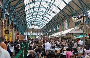 The interior of Convent Garden Market, London.