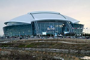 Cowboys Stadium exterior, 2010 NBA All-Star Game.jpg