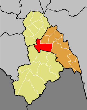 Fairfield (Croydon ward) - The ward of Faifield (red) shown within the Croydon Central constituency (orange) within the London Borough of Croydon (yellow)