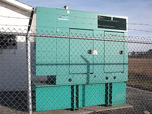 Cummins - A Cummins generator at the base of a radio mast