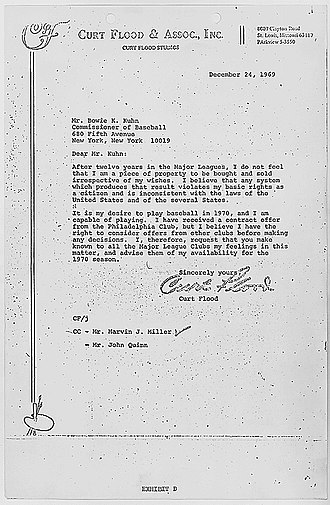 "Curt Flood - Flood's letter to Bowie Kuhn in December 1969. Flood states, ""I do not feel that I am a piece of property to be bought and sold irrespective of my wishes."" He then states that the Phillies have offered him a contract, but ""I believe I have the right to consider offers from other clubs before making any decisions."""