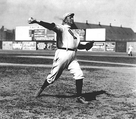 Cy Young--the holder of many major league career marks, including wins and innings pitched, as well as losses--in 1908. MLB's annual awards for the best pitcher in each league are named for Young. Cy young pitching.jpg