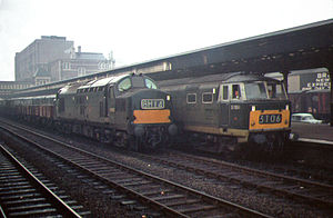 Western Region of British Railways - English Electric Type 3 D6993 and Hymek D7094 at Newport in 1967 with freight trains from the South Wales heavy industry.  The Hymeks were one of the Western Region's diesel-hydraulic locomotives.