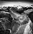 Dall Glacier, terminus and junction of valley glacier, and braided stream leading out from the glacier, September 2, 1970 (GLACIERS 7178).jpg