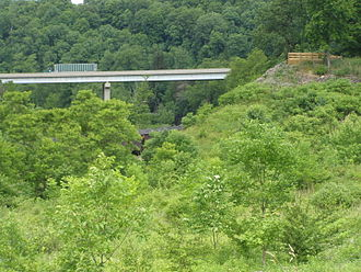 Johnstown Flood - The remaining abutment of the South Fork Dam.