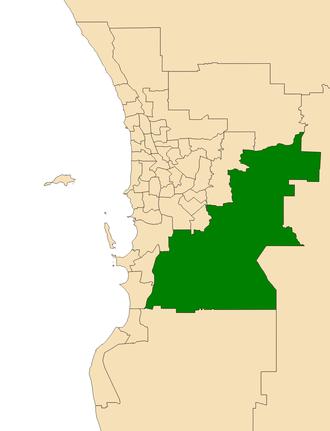 Electoral district of Darling Range - Location of Darling Range (dark green) in the Perth metropolitan area
