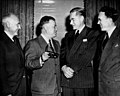 David Dubinsky, guest of honor, speaking with others at the League for Industrial Democracy luncheon, 1949. From left to right are Dr. Harry W. Laidler, David Dubinsky, Gordon R. Clapp, and Thomas C. Douglas. (5278797837).jpg