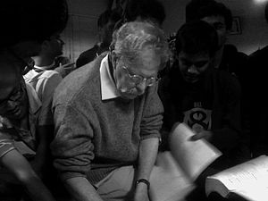 David J. Griffiths - David Griffiths giving autograph to students at IIT Kanpur