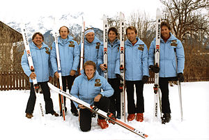 Australia at the 1984 Winter Paralympics - The Australian Paralympic Team, coaches and guide at the 1984 Innsbruck Winter Games
