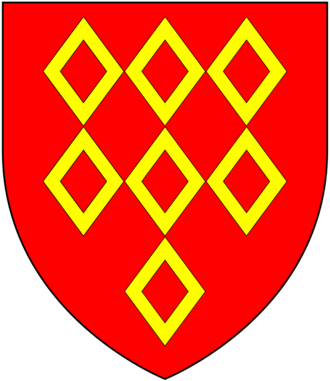 Saer de Quincy, 1st Earl of Winchester - Arms of De Quincy: Gules, seven mascles or 3,3,1, adopted at the start of the age of heraldry, circa 1200-1215.