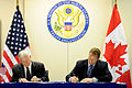 Defense.gov News Photo 110310-D-XH843-001 - Secretary of Defense Robert M. Gates and Canadian Defense Minister Peter MacKay sign the U.S. and Canada Space Situational Awareness Partnership in.jpg