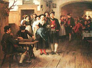 Schuhplattler -  Vor dem Tanz: Franz Defregger (1835–1921)