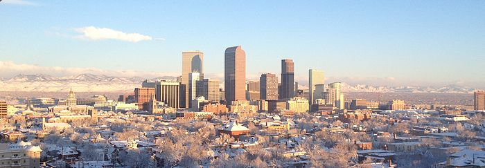 View of downtown Denver after a snowstorm in March 2016, looking northwest from Cheesman Park. Denver Skyline in Winter.JPG