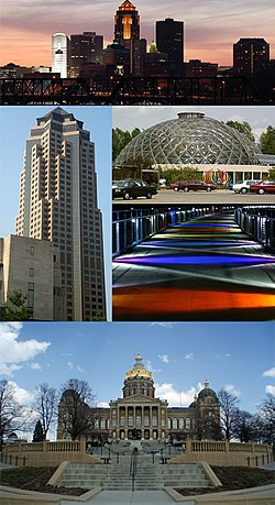 Clockwise from top: 801 Grand (Principal Financial Group), Des Moines Botanical Center, Kruidenier Trail bridge, and the Iowa State Capitol