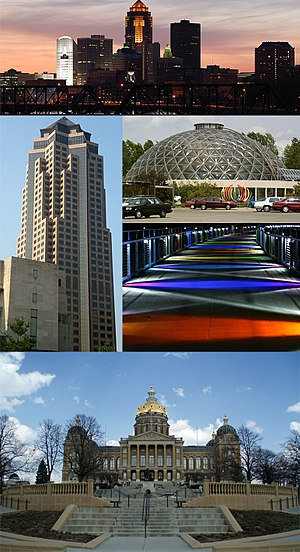 Des Moines, Iowa - Clockwise from top: Skyline, Greater Des Moines Botanical Garden, Kruidenier Trail bridge, and the Iowa State Capitol, 801 Grand (Principal Financial Group)