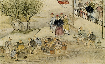 Contemporary Chinese depiction of the destruction of opium under Commissioner Lin. Destruction of opium in 1839.jpg