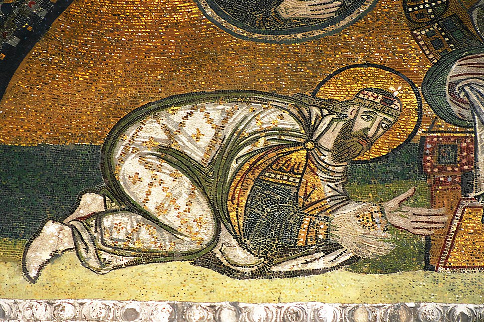 Detail of the Imperial Gate mosaic in Hagia Sophia showing Leo VI the Wise