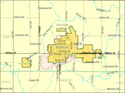 Detailed map of Marysville, Kansas