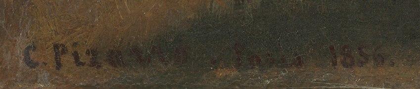 Deux femmes causant au bord de la mer, Saint Thomas (Camille Pissarro) – NGA 1985.64.30 – Signature