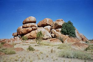 Kaytetye - One of the boulder formations of Karlu Karlu (the Devils Marbles), a sacred Dreaming site for Kaytetye