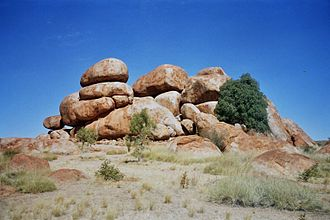 Kaytetye - One of the boulder formations of Karlu Karlu (the Devils Marbles), a sacred Dreaming site for Kaytetye
