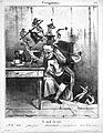 Devils besiege a man's head; symbolising headache. Lithograp Wellcome L0019753.jpg
