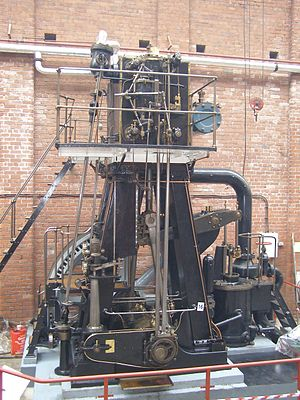 Bolton Steam Museum - A 'prize exhibit': an inverted vertical compound engine rescued from Hardman and Ingham's Diamond Rope Works at Royton, near Oldham